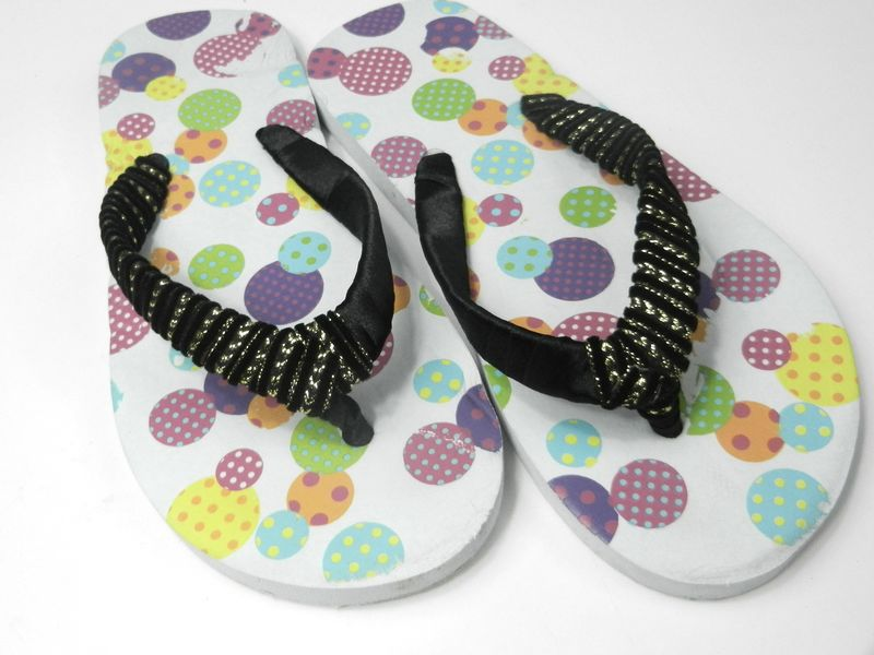 Lace Decoration at Flip Flop Shoes